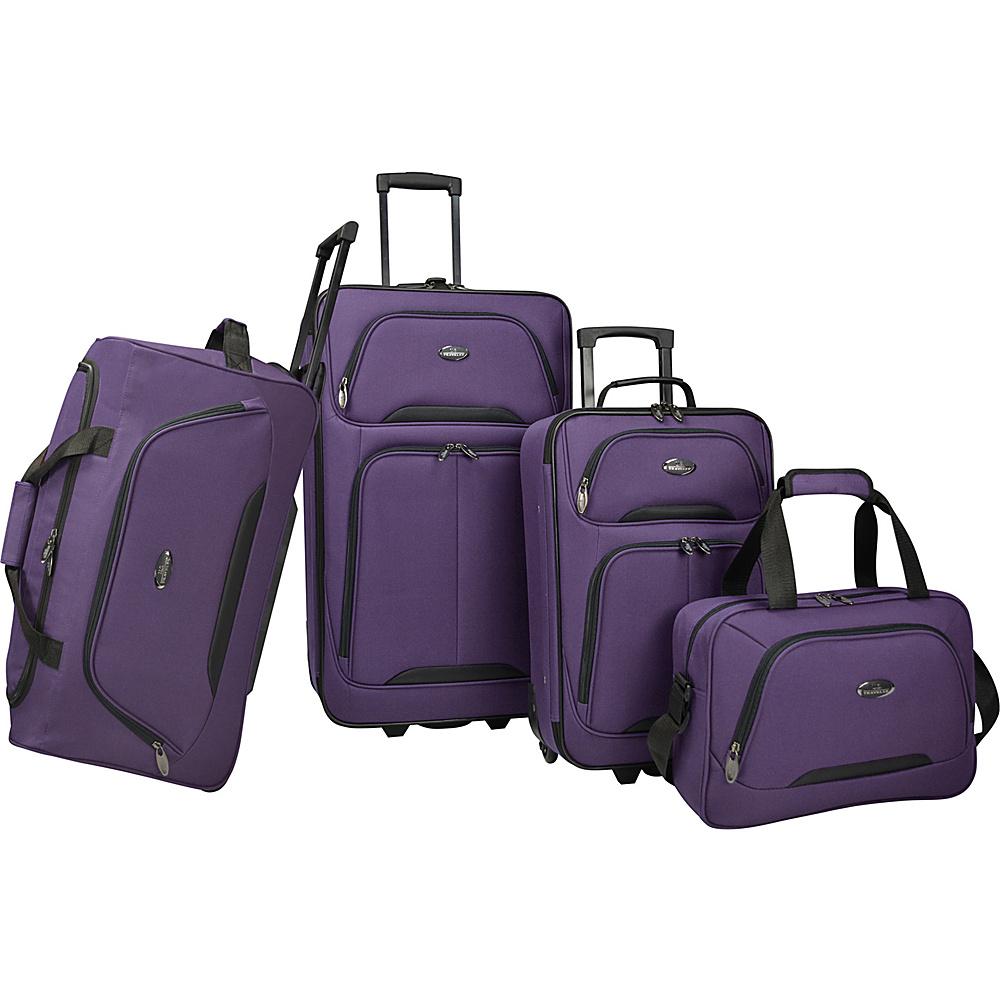 U.S. Traveler Vineyard 4 Piece Softside Luggage Set Purple U.S. Traveler Luggage Sets