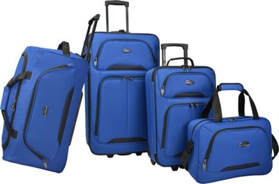 U.S. Traveler Vineyard 4-Piece Softside Luggage Set Blue - U.S. Traveler Luggage Sets