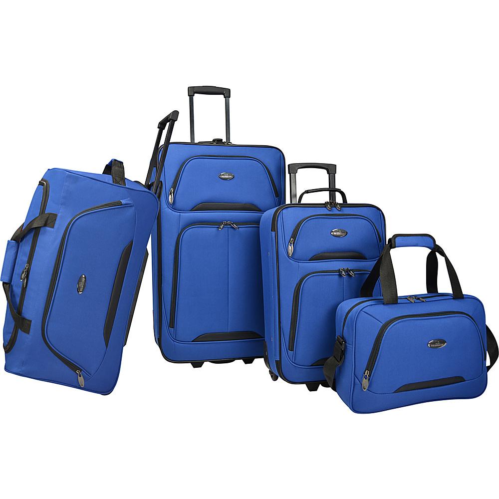 U.S. Traveler Vineyard 4 Piece Softside Luggage Set Blue U.S. Traveler Luggage Sets