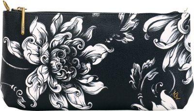 Elliott Lucca 3-Way Demi Clutch Black & White Wildflower - Elliott Lucca Designer Handbags