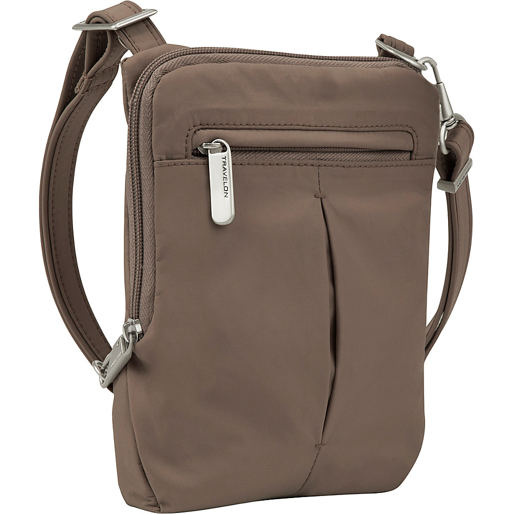 Travelon Anti-Theft Classic Light Slim Mini Crossbody Bag Mocha/Light Blue - Travelon Leather Handbags - Handbags, Leather Handbags
