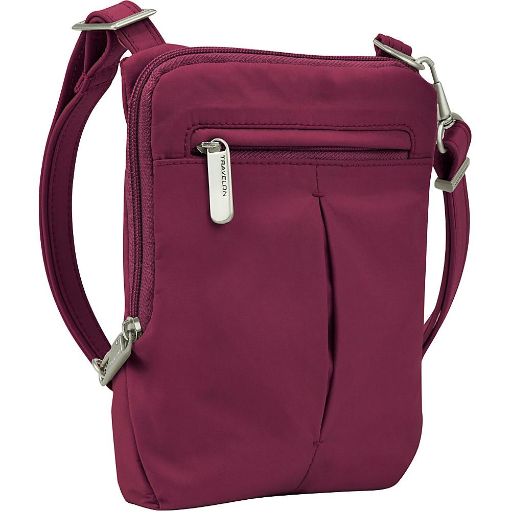 Travelon Anti-Theft Classic Light Slim Mini Crossbody Bag Berry/Gray - Travelon Leather Handbags - Handbags, Leather Handbags