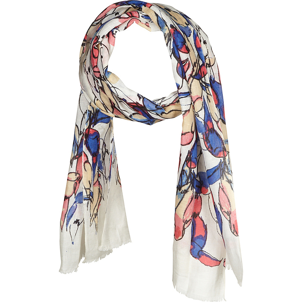 Kinross Cashmere Toucan Print Scarf Quince Multi - Kinross Cashmere Hats/Gloves/Scarves - Fashion Accessories, Hats/Gloves/Scarves