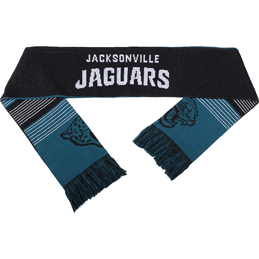Forever Collectibles NFL Reversible Split Logo Scarf Black Jacksonville Jaguars Forever Collectibles Hats Gloves Scarves