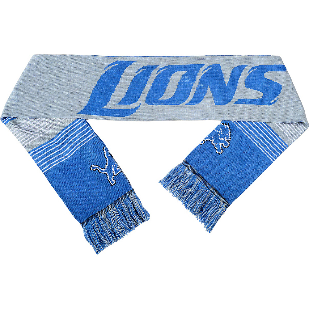 Forever Collectibles NFL Reversible Split Logo Scarf Blue Detroit Lions Forever Collectibles Hats Gloves Scarves