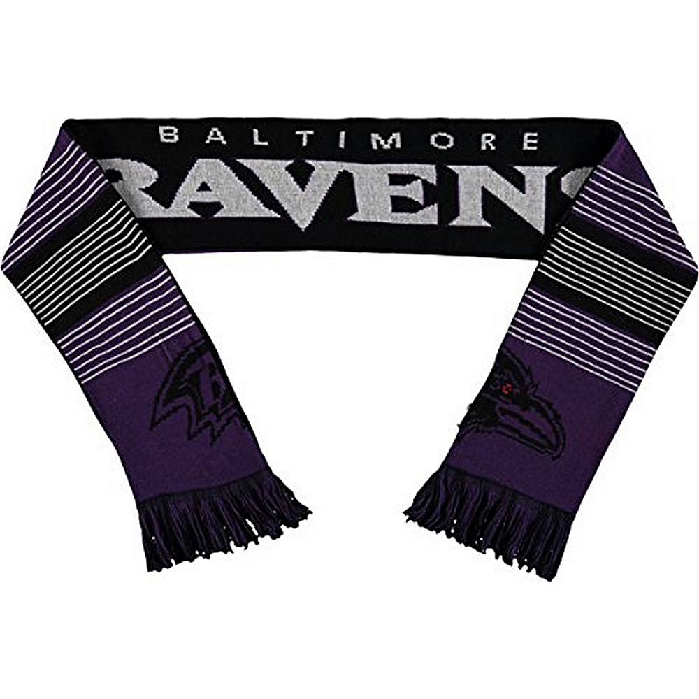 Forever Collectibles NFL Reversible Split Logo Scarf Black Baltimore Ravens Forever Collectibles Hats Gloves Scarves