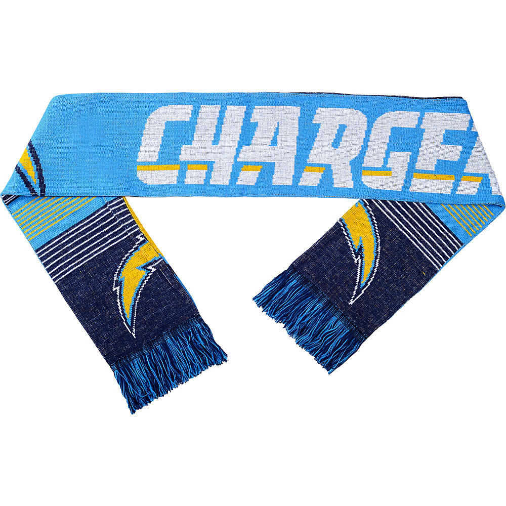 Forever Collectibles NFL Reversible Split Logo Scarf Blue San Diego Chargers Forever Collectibles Hats Gloves Scarves