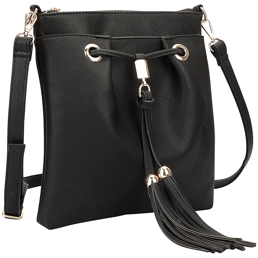Dasein Crossbody bag with fringe details Black - Dasein Manmade Handbags - Handbags, Manmade Handbags