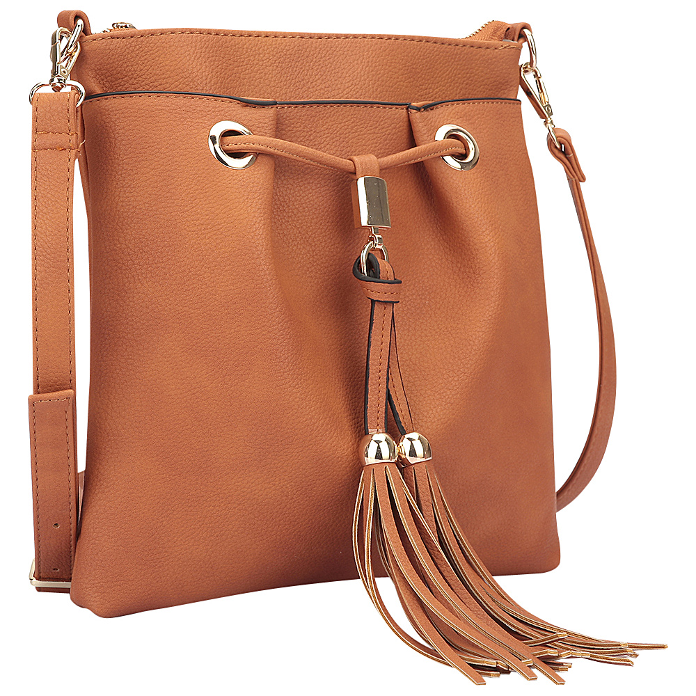Dasein Crossbody bag with fringe details Brown - Dasein Manmade Handbags - Handbags, Manmade Handbags
