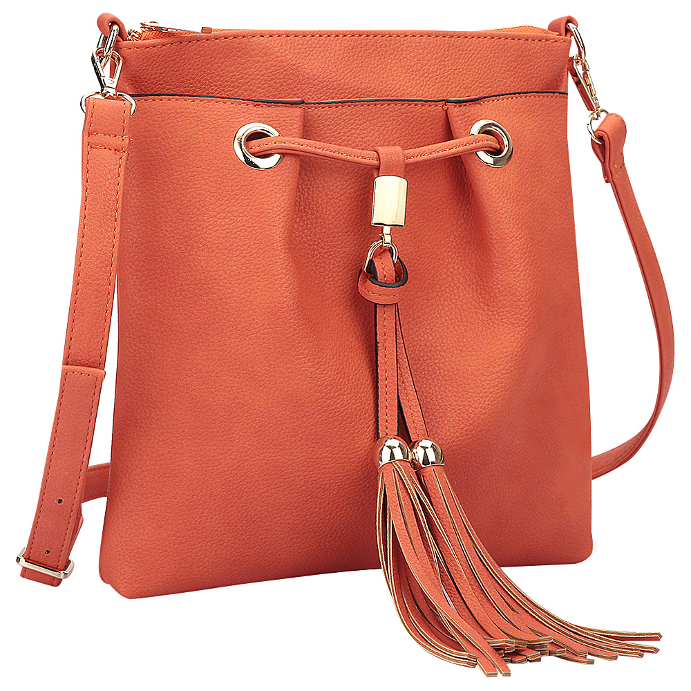 Dasein Crossbody bag with fringe details Orange - Dasein Manmade Handbags - Handbags, Manmade Handbags