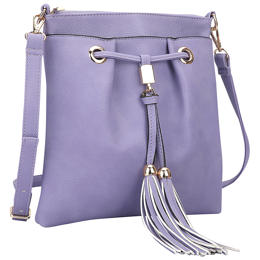 Dasein Crossbody bag with fringe details Purple - Dasein Manmade Handbags - Handbags, Manmade Handbags