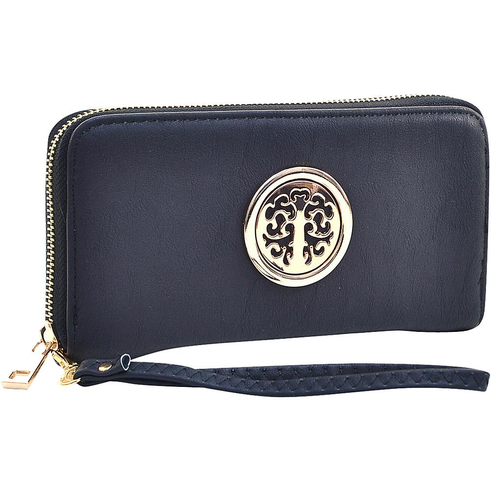 Dasein Emblem Embossed Zip Around Wallet Black - Dasein Manmade Handbags - Handbags, Manmade Handbags