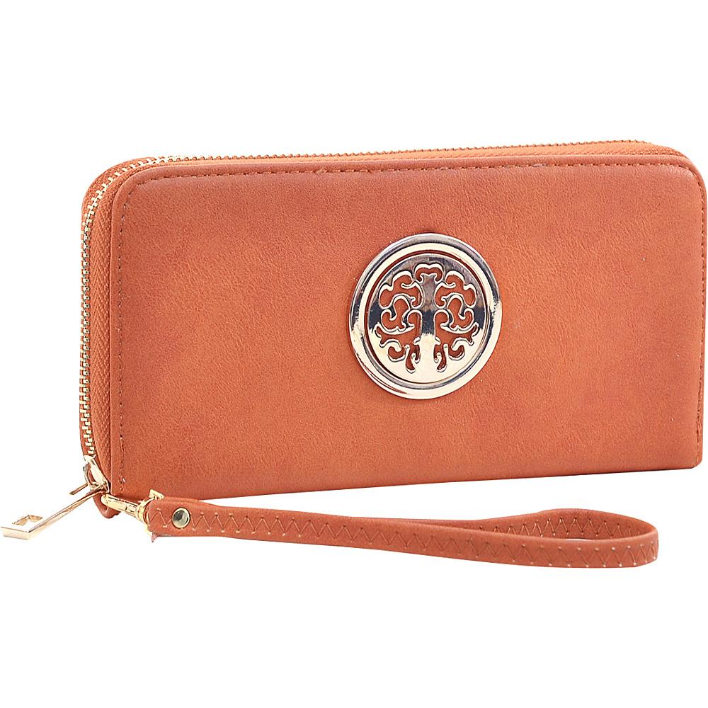 Dasein Emblem Embossed Zip Around Wallet Brown - Dasein Womens Wallets - Women's SLG, Women's Wallets