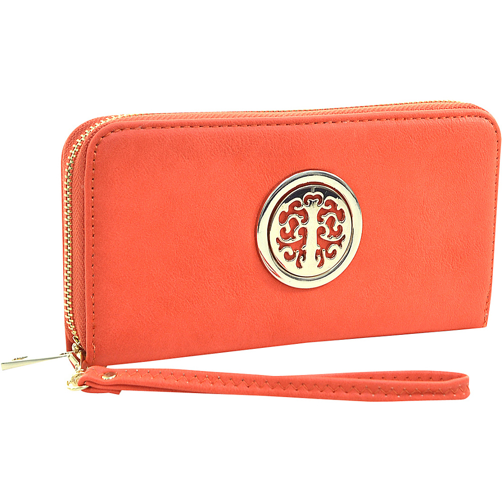 Dasein Emblem Embossed Zip Around Wallet Orange - Dasein Manmade Handbags - Handbags, Manmade Handbags