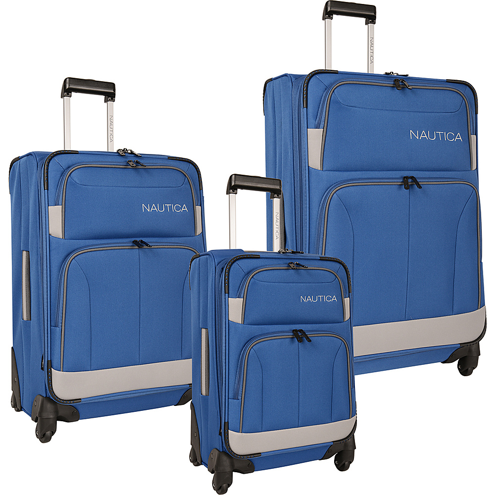 Nautica Shipline 3 Piece Set True Blue/Charcoal Grey - Nautica Luggage Sets