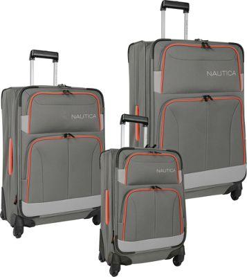 Nautica Shipline 3 Piece Set Charcoal Grey/Orgcom - Nautica Luggage Sets