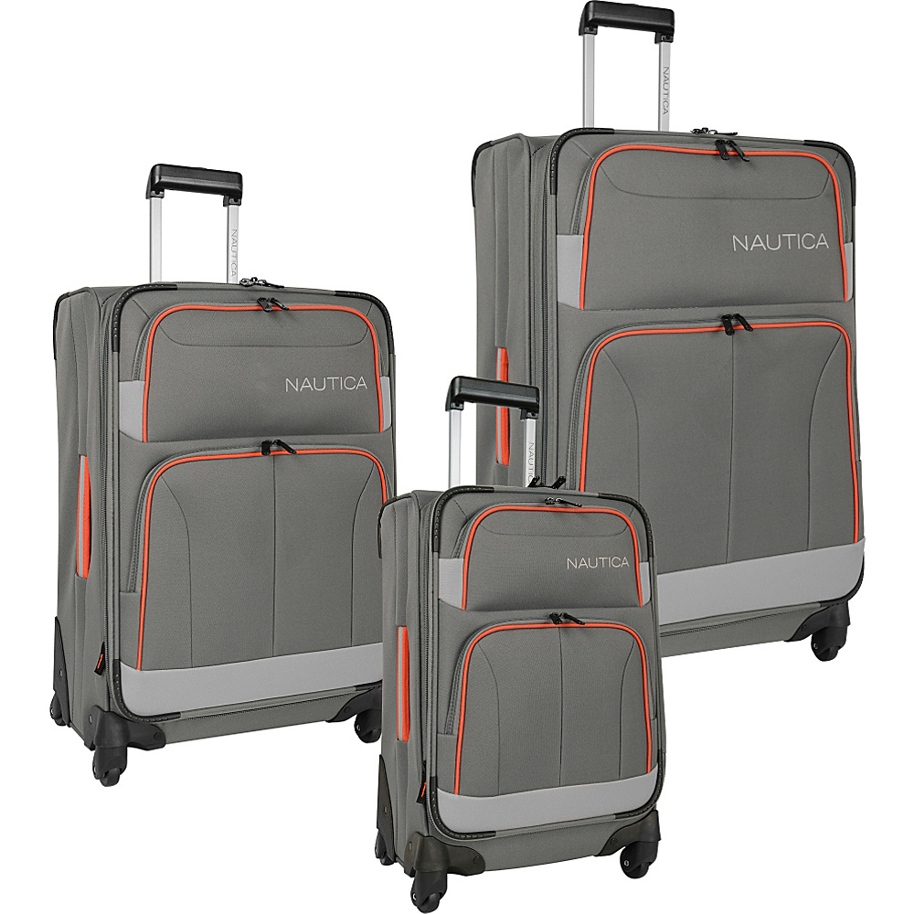 Nautica Shipline 3 Piece Set Charcoal Grey/Orgcom - Nautica Luggage Sets