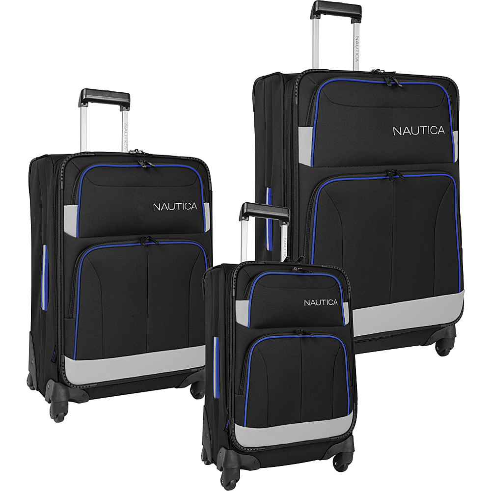 Nautica Shipline 3 Piece Set Blk/Gry/Cbbl - Nautica Luggage Sets
