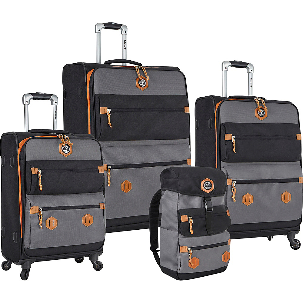 Timberland Orange Trail 4 Piece Set Black Gray Timberland Luggage Sets
