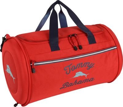 Tommy Bahama Tumbler 20 inch Clamshell Duffle Red/Navy/Light Blue - Tommy Bahama Travel Duffels