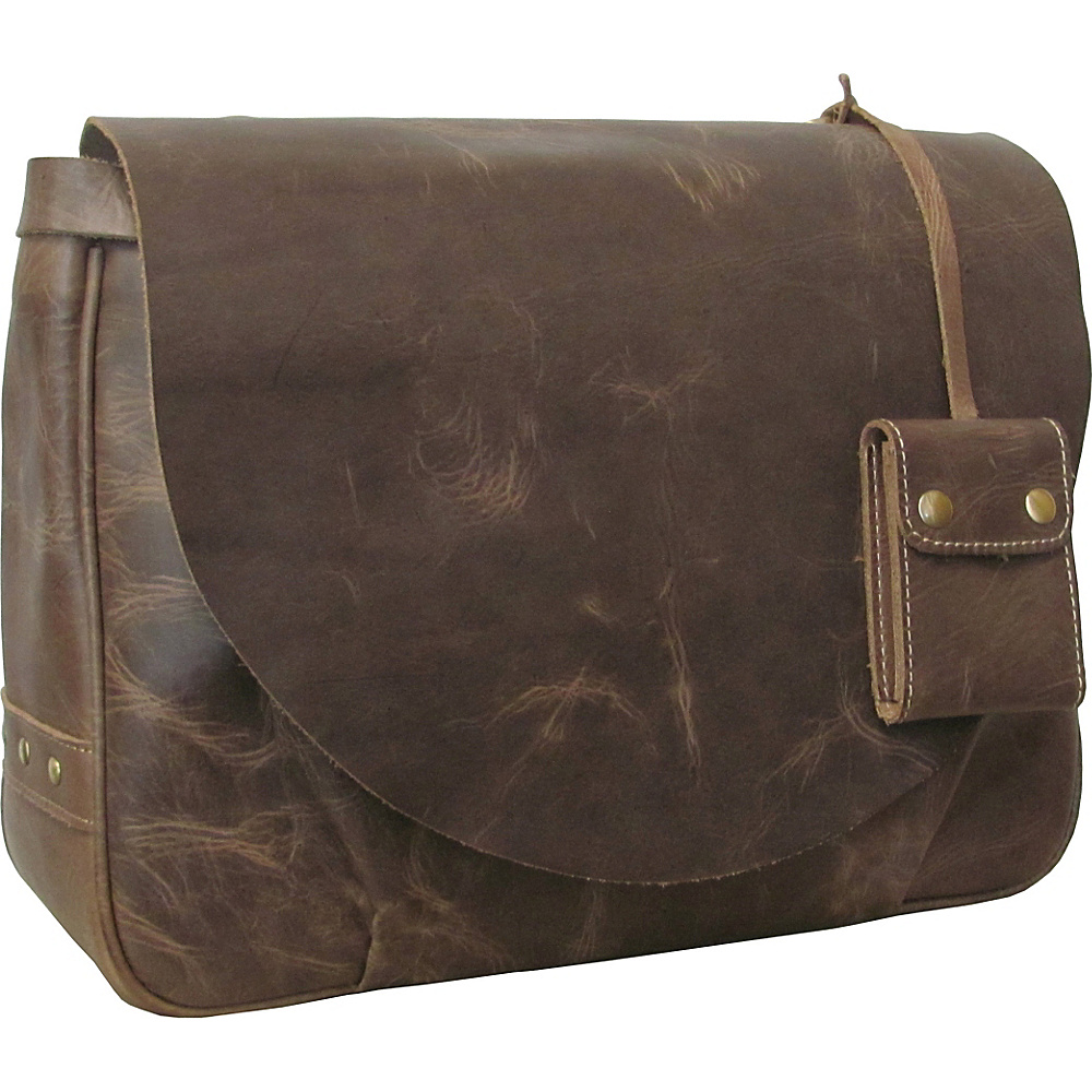 AmeriLeather Vintage Flapover Messenger Brief Distressed Brown - AmeriLeather Messenger Bags - Work Bags & Briefcases, Messenger Bags
