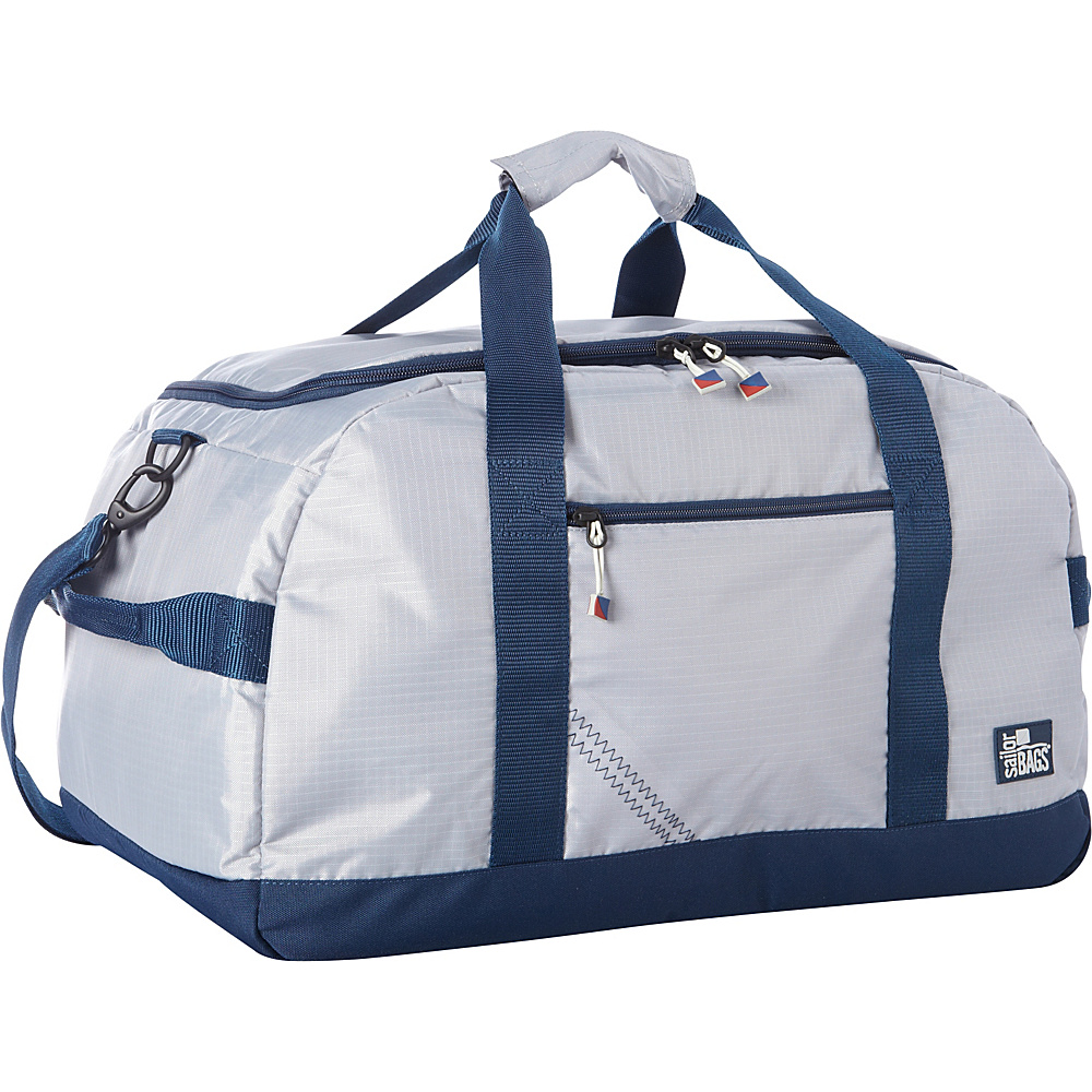 SailorBags Silver Spinnaker Racer Duffel Silver with Blue Trim SailorBags Travel Duffels