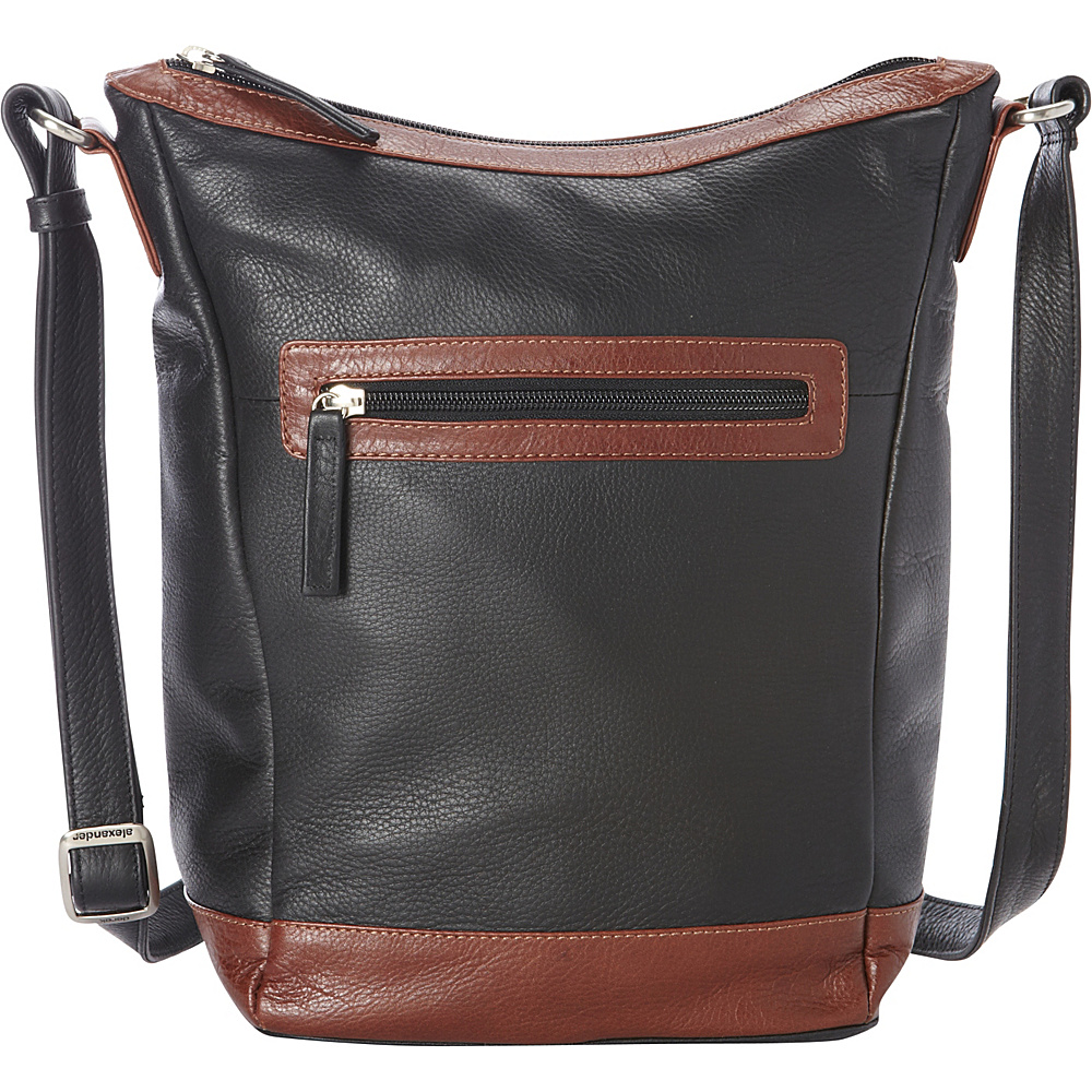 Derek Alexander Medium NS Bucket, Cross Shoulder Black/Whisky - Derek Alexander Leather Handbags - Handbags, Leather Handbags