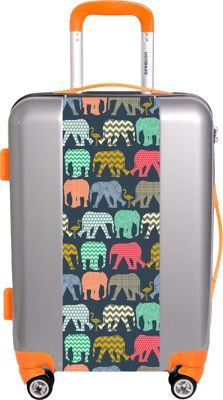 Ugobags Baby Elephants And Flamingos By Sharon Tuner 26.5 inch Luggage Silver - Ugobags Hardside Checked