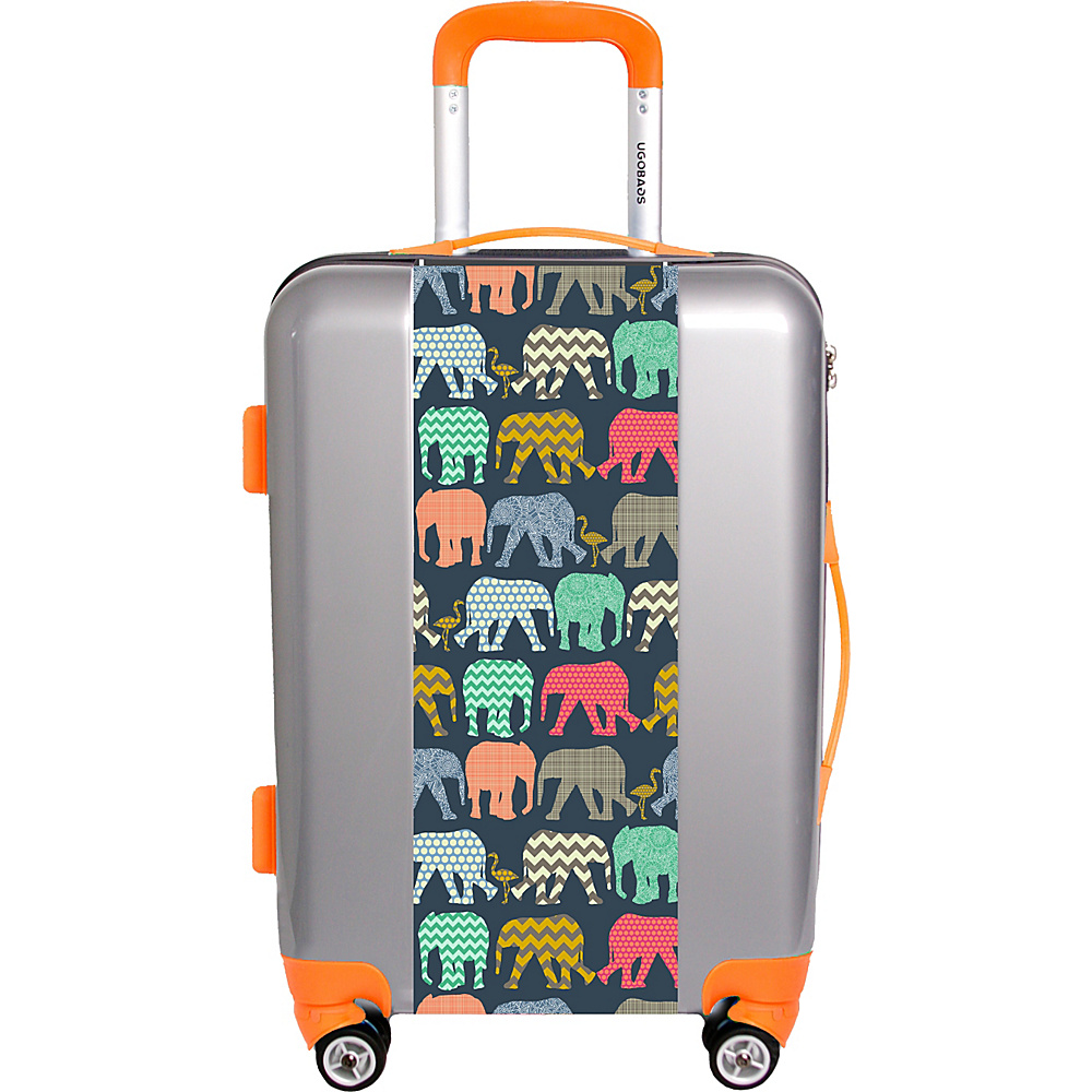 Ugo Bags Baby Elephants And Flamingos By Sharon Tuner 26.5 Luggage Silver Ugo Bags Hardside Checked