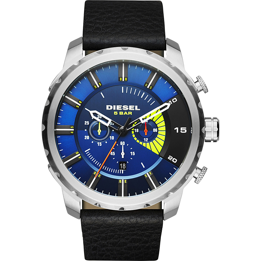 Diesel Watches Stronghold Leather Watch Black - Diesel Watches Watches
