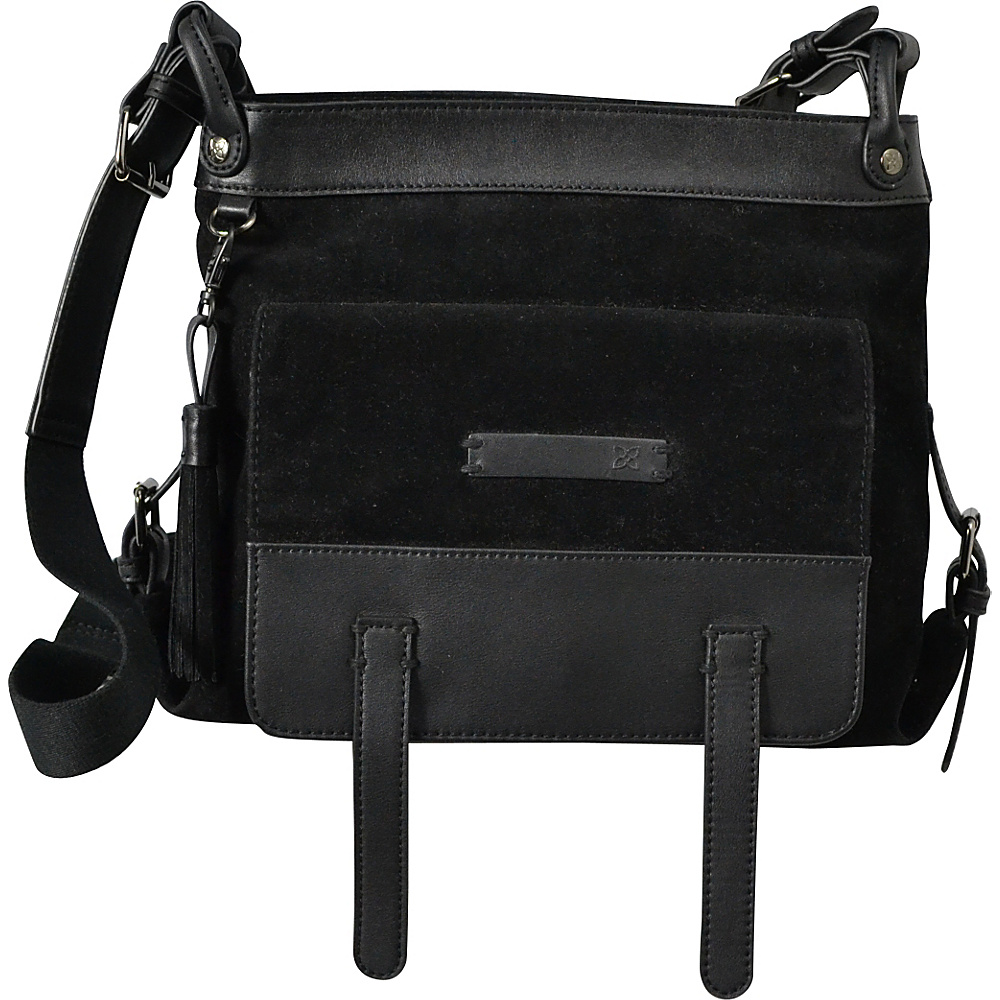 Sherpani Willow Crossbody PU Suede Black Sherpani Leather Handbags