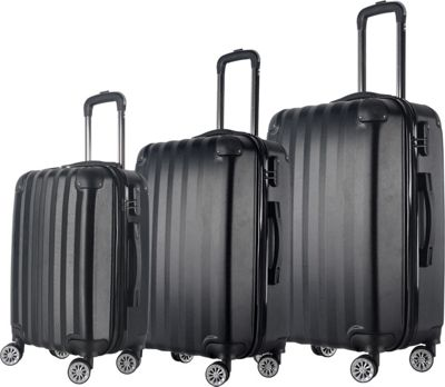 Brio Luggage Brio Luggage Hardside Spinner Luggage Set #1331 Black - Brio Luggage Luggage Sets