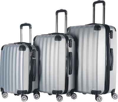Brio Luggage Brio Luggage Hardside Spinner Luggage Set #1331 Silver - Brio Luggage Luggage Sets