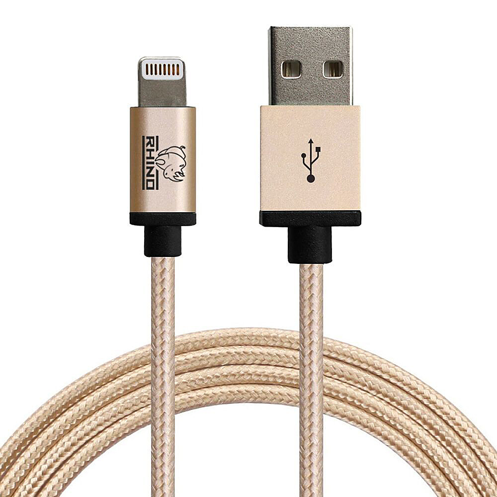 Rhino Paracord Sync Charge 3 meter MFI Lightning Cable Gold Rhino Electronic Accessories