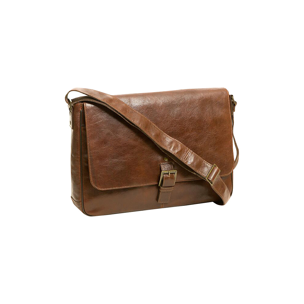 Boconi Becker Buckle RFID Messenger Whiskey w Khaki and Gingham Boconi Messenger Bags