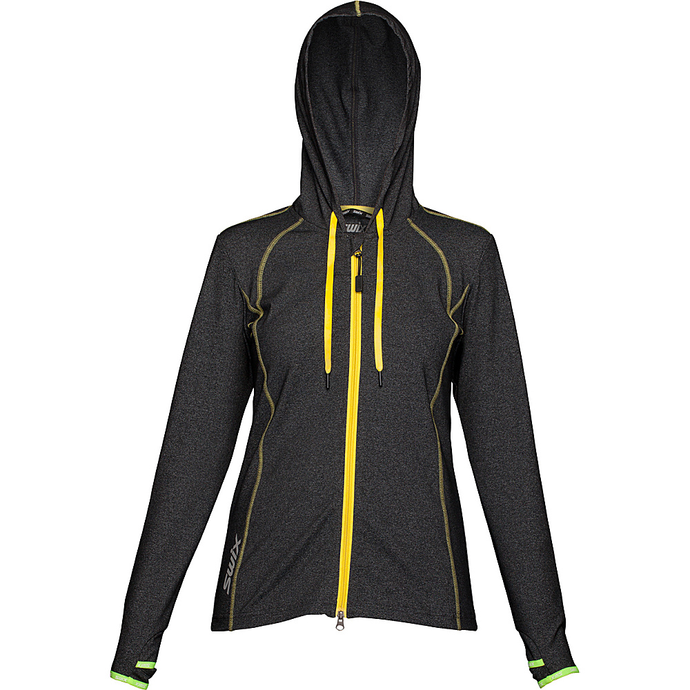 Swix Womens Ergon Hooded Full Zip Sweater M Black Swix Women s Apparel