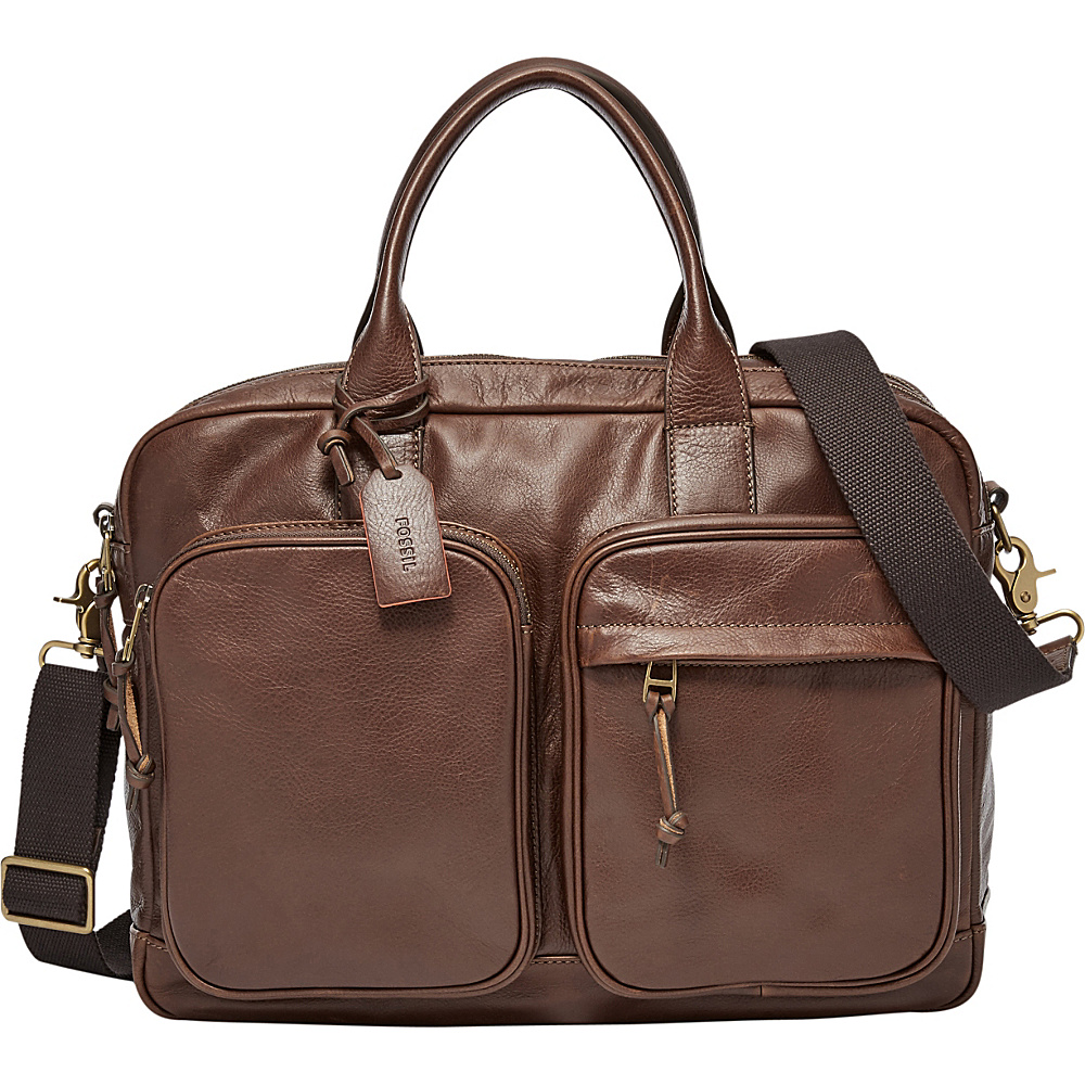 Fossil Defender Double Zip Workbag Brown - Fossil Messenger Bags - Work Bags & Briefcases, Messenger Bags