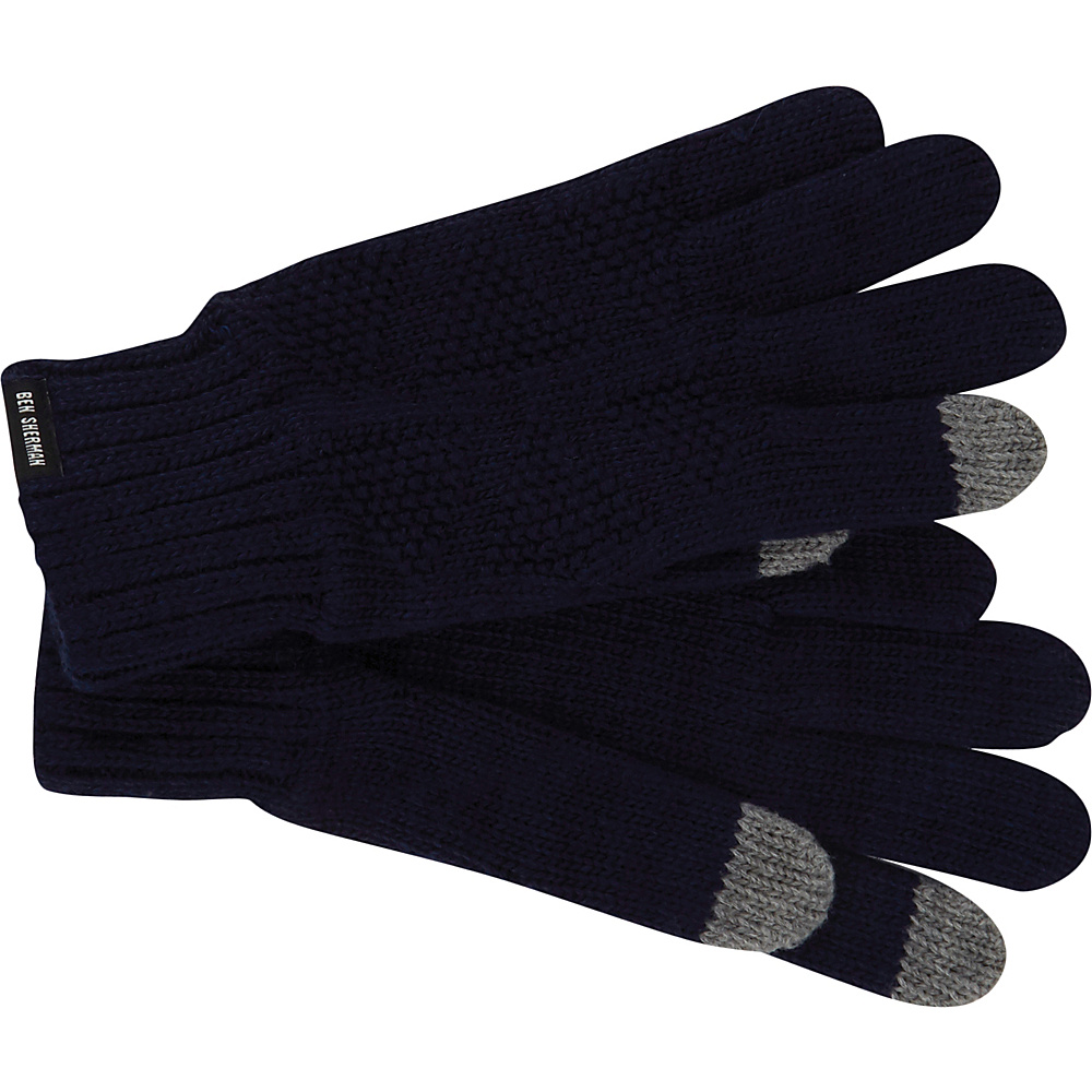 Ben Sherman Textured Knit Glove Staples Navy - Ben Sherman Gloves
