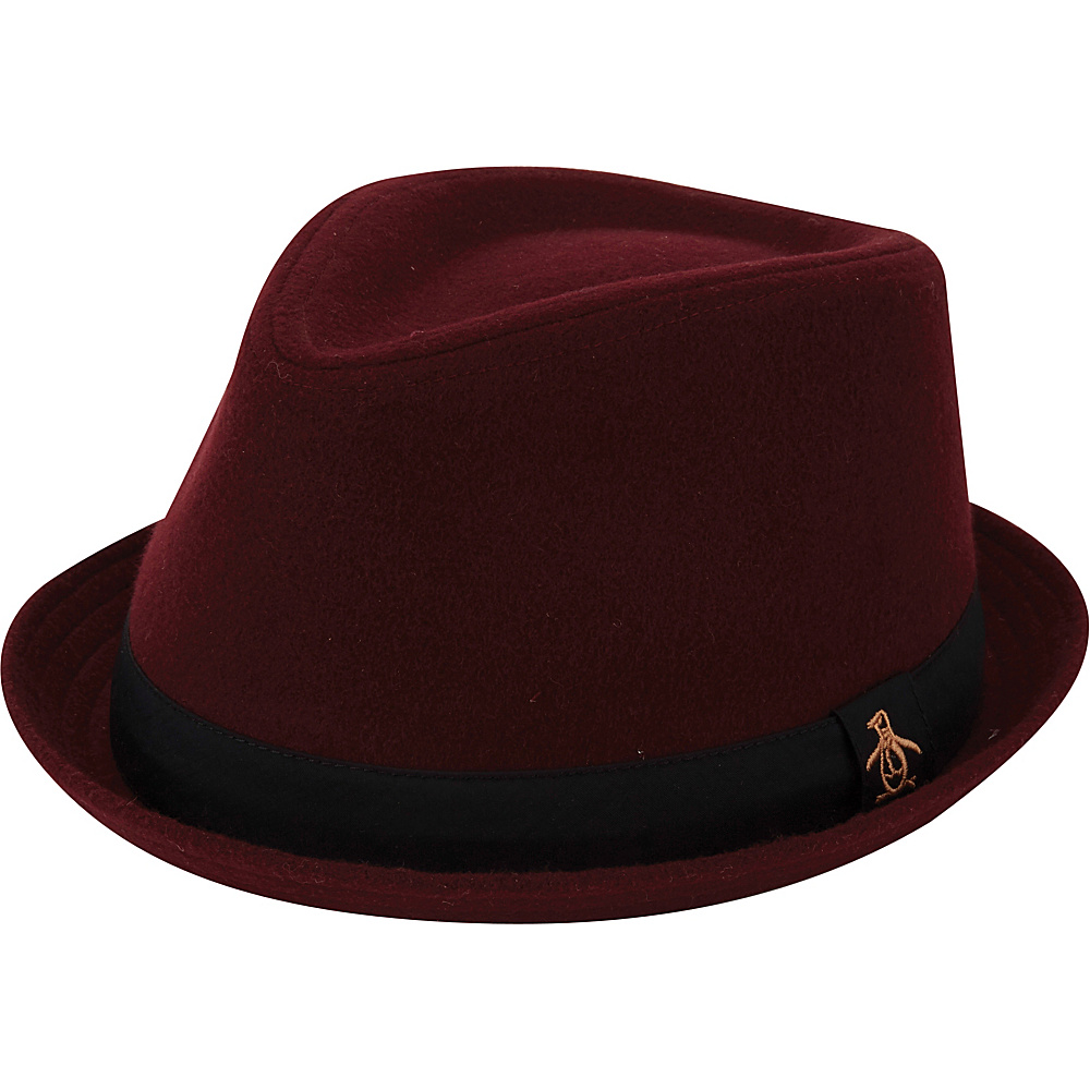 Original Penguin Melton Wool Porkpie Hat L/XL - Pomegranate - Original Penguin Hats/Gloves/Scarves