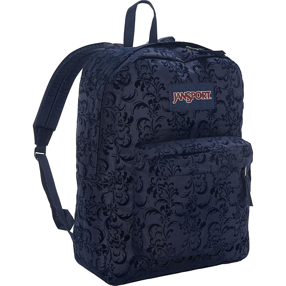 JanSport High Stakes Backpack- Discontinued Colors JanSport Navy Splendid Vine Flock - JanSport Everyday Backpacks - Backpacks, Everyday Backpacks