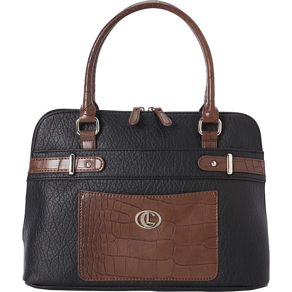 Aurielle Carryland Croco Belting Satchel Black Brown Aurielle Carryland Manmade Handbags