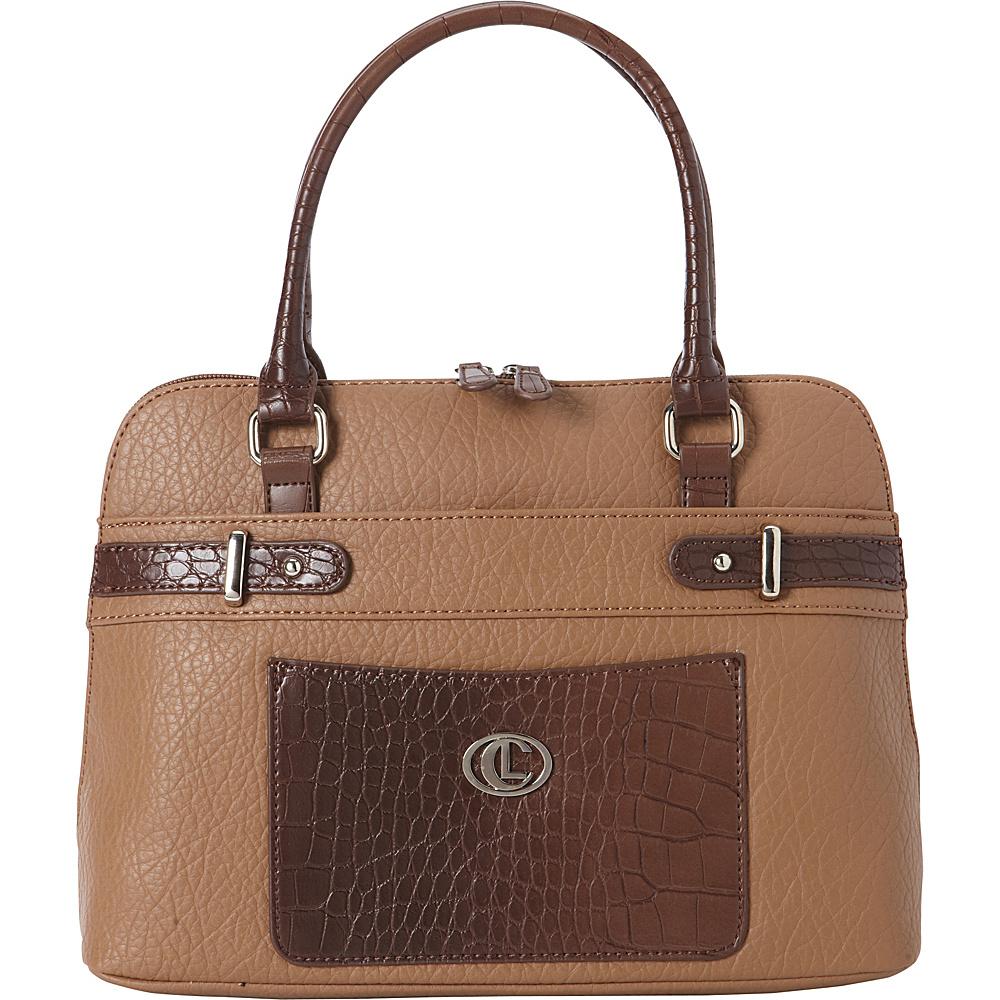 Aurielle Carryland Croco Belting Satchel Sand Brown Aurielle Carryland Manmade Handbags