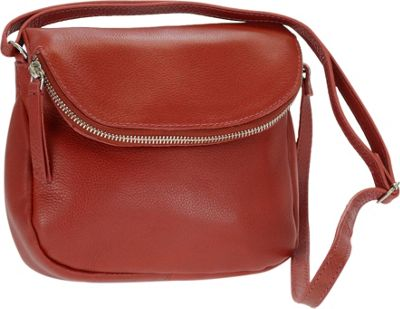 R & R Collections Genuine Leather Flapover Crossbody Red - R & R Collections Leather Handbags
