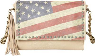 Montana West Vintage American Flag Shoulder Bag Beige - Montana West Manmade Handbags