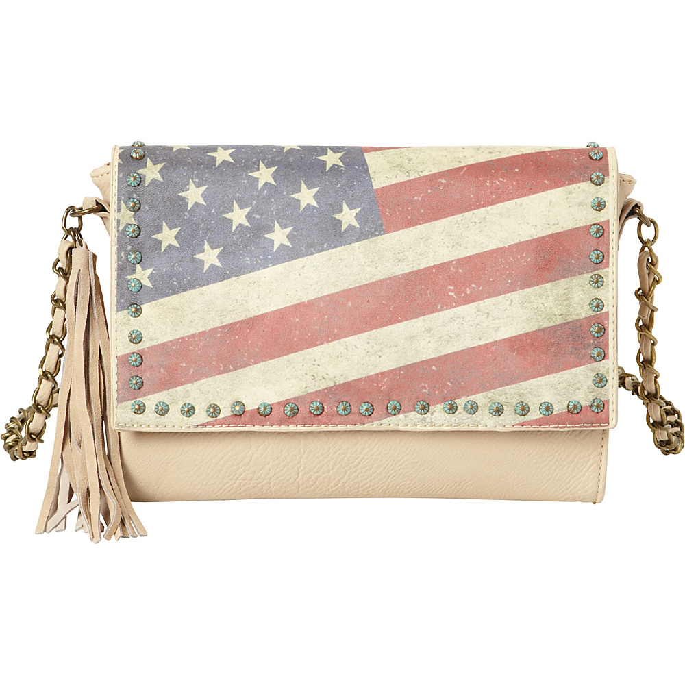 Montana West Vintage American Flag Shoulder Bag Beige Montana West Manmade Handbags