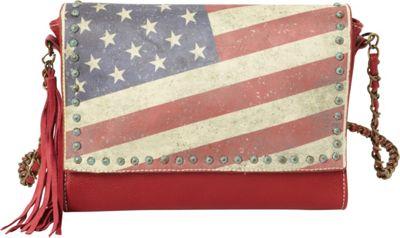Montana West Vintage American Flag Shoulder Bag Red - Montana West Manmade Handbags