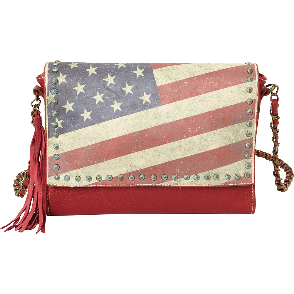 Montana West Vintage American Flag Shoulder Bag Red Montana West Manmade Handbags