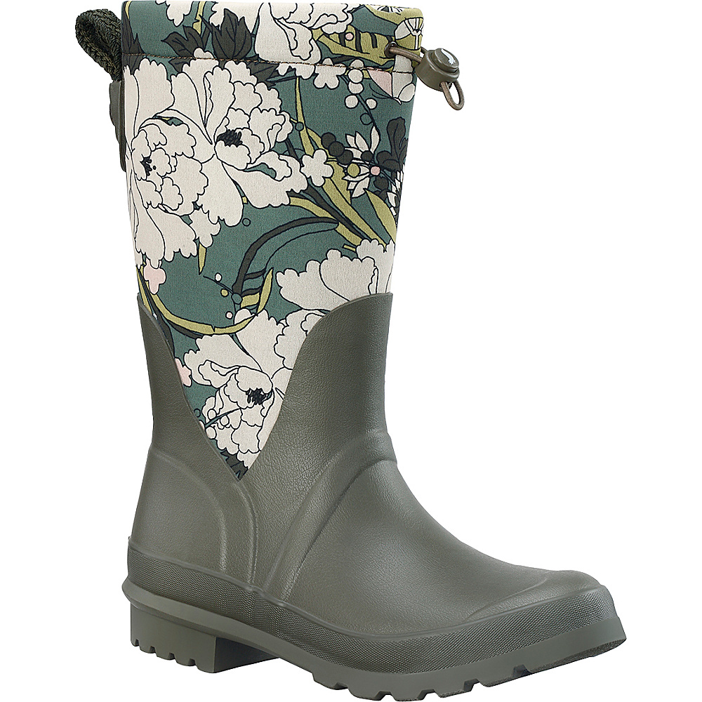 Sakroots Mezzo Tall Rain Boot 6 - M (Regular/Medium) - Olive Flower Power - Sakroots Womens Footwear - Apparel & Footwear, Women's Footwear