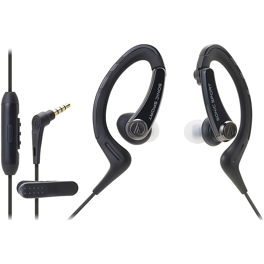 Audio Technica ATH SPORT1ISBK SonicSport In ear Headphones Black Audio Technica Headphones Speakers