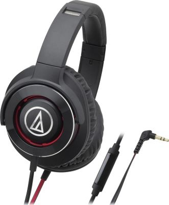 Audio Technica Solid Bass Over-Ear Headphones with In-Line Mic and Control Red - Audio Technica Headphones & Speakers